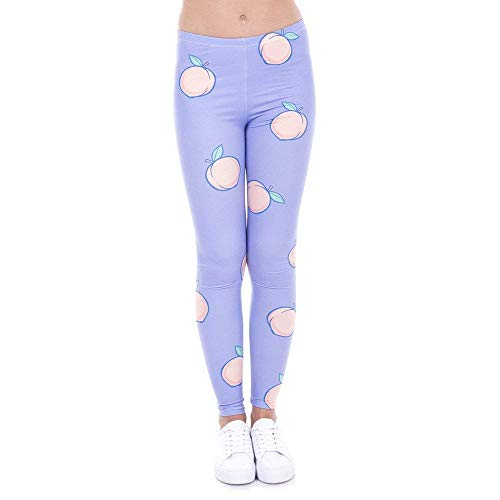 Legins Púrpura Melocotón Yoga De Pantalones Casual Impreso Manera Leggings Lga43463 Clásico La Mujeres Legging Elásticos Mujer RagpgS