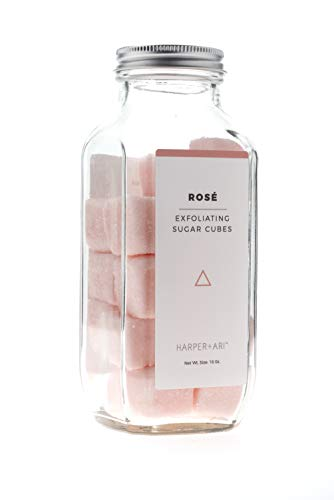 Harper + Ari Sugar Scrub Cubes, Exfoliating Body Scrub in Single Use Size, Soften and Smooth Skin with Shea Butter and Aloe Vera (Rosé)