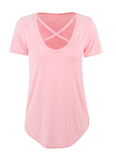 Hestya T-shirt Cross Front T-shirts V-neck Short Sleeve Tee Tops Womens Casual Loose Tops (L Size, Nude Pink)