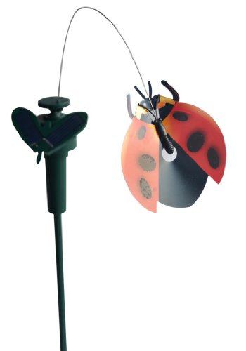 Solar Yard Stake Fluttering Insects, Solar or Battery Powered (Ladybug) Solar Ladybug Lights
