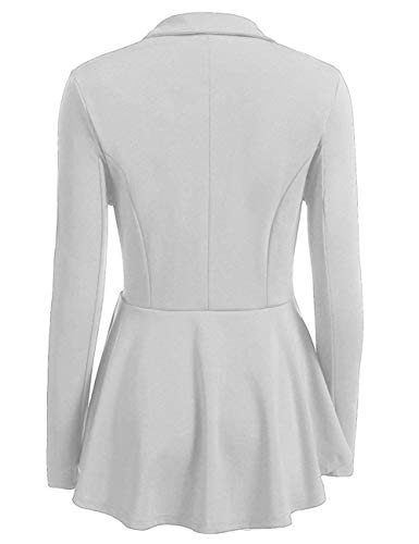 Uni Manches Costume Fit Longues Grau Automne Casual Double Boutonnage Outwear Revers Fille Style Manteaux Ouest Femme Slim Moderne Manche zwF77q