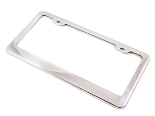 Stainless Steel License Plate Frame Tag Holder Polished Chrome - Premium Quality (Polished License Plate Frame compare prices)