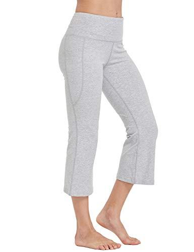 (Baleaf Women's Yoga Capri Pants Flare Workout Bootleg Crop Leggings Light Grey L)