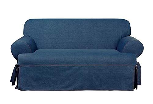 Sure Fit Authentic Denim One Piece T-Cushion Loveseat Slipcover - Indigo (SF44455)