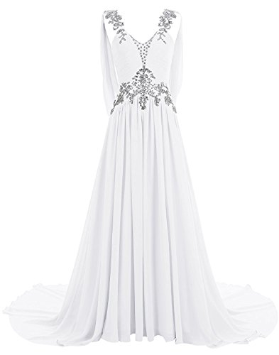 MariRobe Women's Greek Style Rhinestone Beaded Wedding Dresses Backless Evening Dress Prom Dress Fromal Gown US22 White