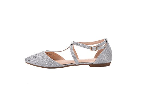 Mila Lady Laurel New Fashion Damen Spitz Knöchel Wrap T-Strap D'Orsay Wohnungen Silber