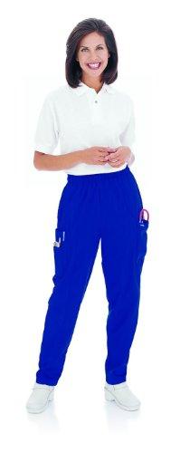 Landau Essentials Women's Classic Fit Elastic-Waist Cargo Scrub Pant Galaxy Blue XLP