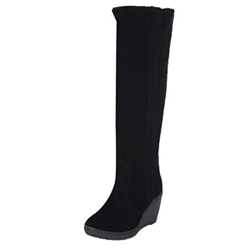 Limsea Women's Snow Boots Fashion Brief Wedges High Heeled Platform Slip-On Knee-High 7 Black