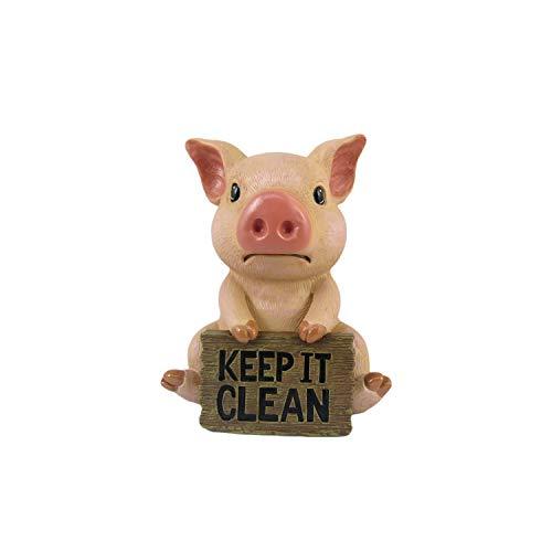 DWK Pig Toilet Tank Decorative Figurine   Pig Bathroom Sign   Funny Pig Themed Items and Farmhouse Pig Figurine   Shelf…