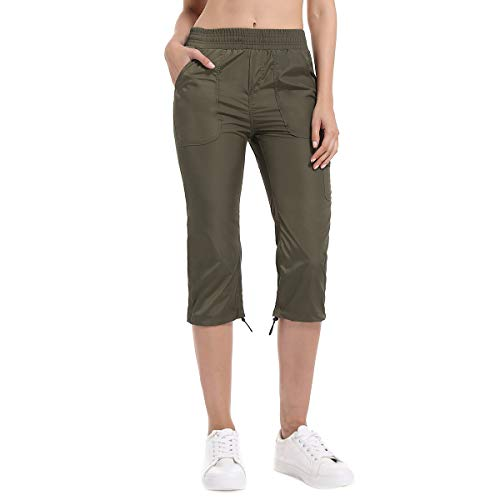 Women's Cargo Capri Pants, Drawstring Waterproof Lightweight Cropped Pants Army Green ()