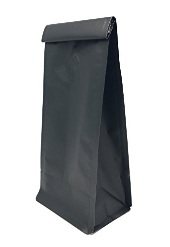 Flat Bottom Coffee Bags, Matte Black (12-16 oz), One Way Valve and Tine Tie (100 Count)