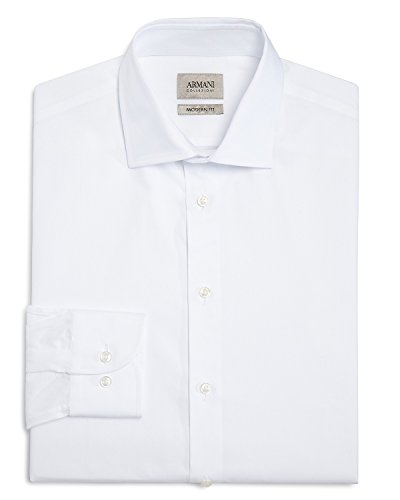 Armani Collezioni Men's Cotton Dress Shirt Modern Fit White VCCM8L VCC45 100 (USA15/EURO38) by Armani Collezioni