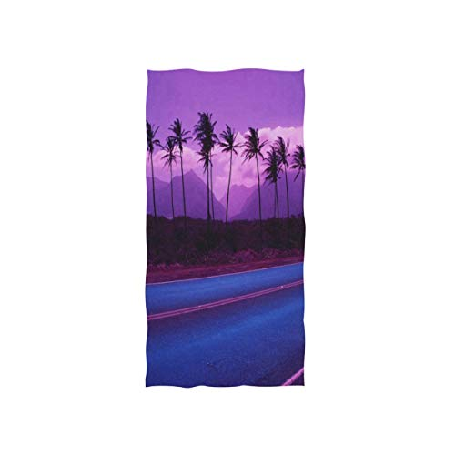 Hawaii Palm Trees On Sunset Hand Towels Cotton Washcloths Face Cloth Soft Wash Cloths for Home Kitchen Bathroom Spa Gym Swim Hotel -