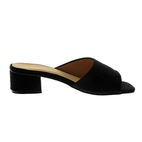Angkorly Zapatillas Moda Sandalias Mules Slip-On Mujer Tacón Ancho Alto 5 cm Negro