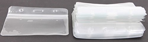 Id Badge Case Horizontal Holder - LeBeila 40pcs Clear Vinyl PVC Business Card Holders Soft Waterproof Name Tag Protective Pouch For Identity Cards (40pcs, Clear) (Vinyl Card Holders Soft)