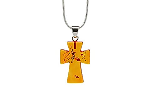 925 Sterling Silver Pendant Necklace with Genuine Natural Baltic Amber Cross / Medium. Chain (Unique Amber Pendant For Women)