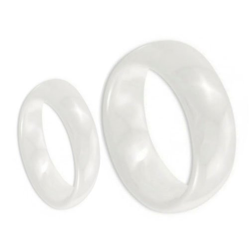 His & Her's 8MM/6MM White Ceramic High Polish Domed Wedding Band Ring Wedding Band Ring Set (Available Sizes 5-10 Including Half Sizes) Please e-mail sizes