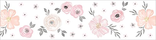 Blush Pink, Grey and White Wallpaper Wall Border for Watercolor Floral Collection by Sweet JoJo Designs ()