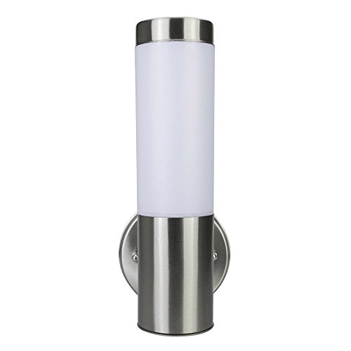 Light Blue™ LED Waterproof Cylinder Light Fixture, Indoor/Outdoor Lighting with Opal Glass Shades, Antique Brushed Nickel, 3000K Warm White, 500 Lumens, Energy Star (Brushed Aluminum Outdoor Wall Light)