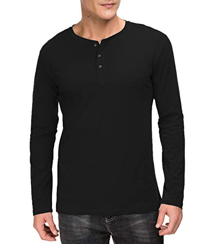 Classic England Rugby Shirt - Janmid Men's Casual Slim Fit Long Sleeve Henley T-Shirts Cotton Shirts Black S