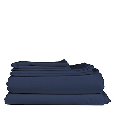 !! Plum Brand !! Northern Night Egyptian Cotton 5-PC Split Sheet Set ( Navy Blue Color ) Eco Friendly, SOLID LOOK 600TC Split King Adjustable Size ( Mattress Fits 16