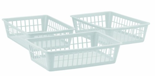 United Solutions BS0003 Slim Plastic Storage Baskets in White (Set of 3)