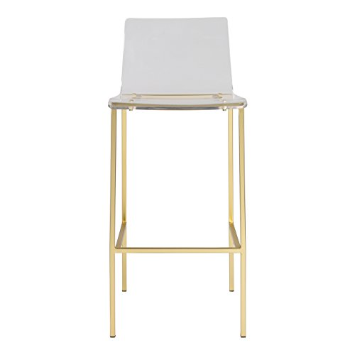 (Euro Style Chloe Bar Stool in Clear Acrylic with Matte Brushed Gold Legs - Set of)