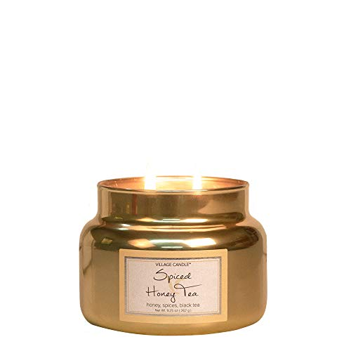 (Village Candle Spiced Honey Tea 11 oz Metallic Jar Scented Candle, Small,)
