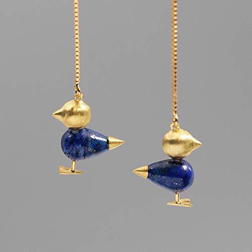 Sterling Silver Natural Aventurine Lovely Bird Drop Earrings | for Women | Animal Jewellery