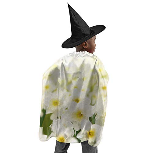 DKGFNK Beautiful White Daffodil Flower Girls Dress Cape Cloak Adult Mens Cloak Witch Cloak and Hat Dress Up for Halloween Birthday Party