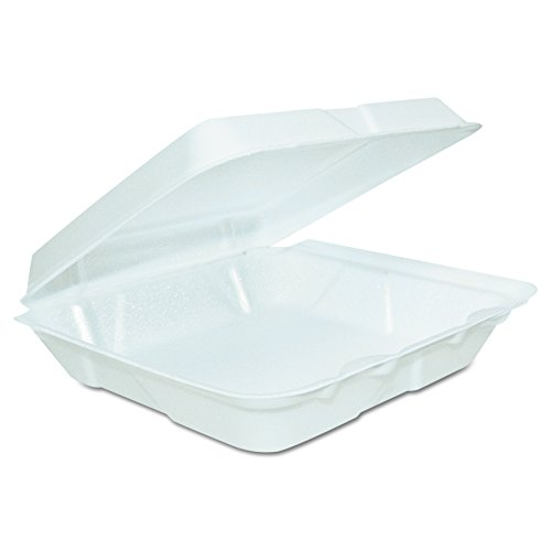 Dart 80HT1R Foam Hinged Lid Containers, (L) 8 x (W) 7.5 x (H) 2.3, White (Case of 200)