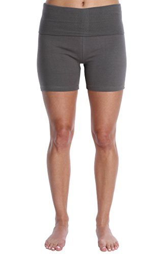 Blis Nouveau Womens Workout Active Yoga Shorts w/Fold Over Waistband - Ladies Casual and Maternity Loungewear