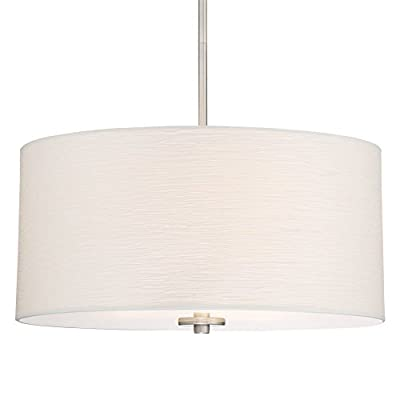 """Kira Home Pearl 18"""" Contemporary 3-Light Large Drum Chandelier + Glass Diffuser, Brushed Nickel Finish"""