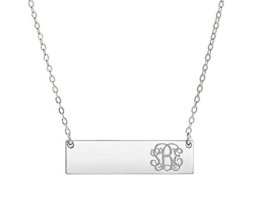 (FUJIN Personalized Initial Bar Necklace 925 Sterling Silver Petite Monogram Bar Charm Necklace (Silver))