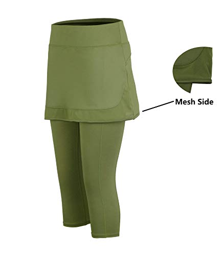 Slimour Women Capri Skirt Leggings Running Tights with Pockets Athletic Pants High Waist Green 14