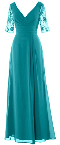 Mother Women Gown Bride the MACloth Half V Sleeves Formal of Dress Neck Turquoise Long CgxwqdI