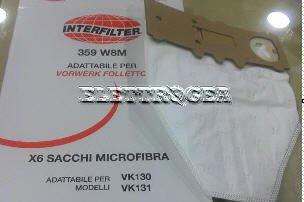 Confezione 6 sacchetti vorwerk folletto kobold 130-131 in microfibra adattabile Mondo