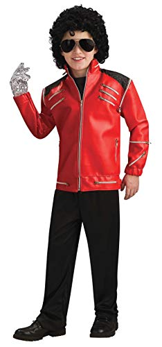 Cheap Michael Jackson Costumes (Michael Jackson Child's Deluxe Red Beat It Zipper Jacket Costume Accessory,)