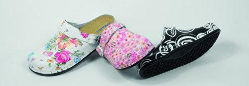 AWC Footwear - Zuecos para mujer - Blumen weiß