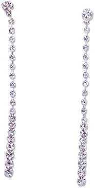 Topwholesalejewel Bridal Earrings Silver Crystal Rhinestone Long Earring For Women