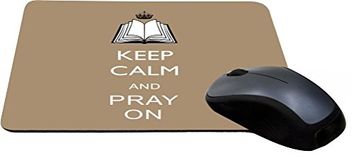 Rikki Knight Keep Calm and Pray on, Tan Color Design Lightning Series Gaming Mouse Pad (8830 Series)