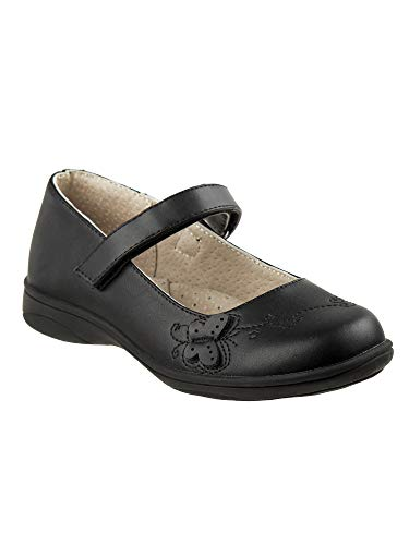 Laura Ashley Little Girls Black Butterfly Applique Mary Jane Shoes 8 Toddler -