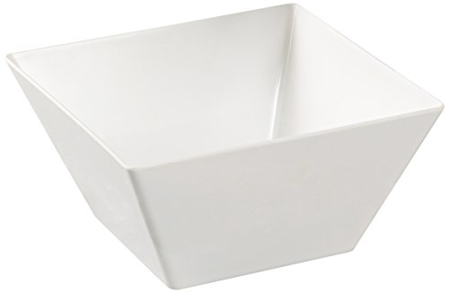 """Yanco RM-405 Rome Square Bowl, 18 oz Capacity, 5"""" Length, 5"""" Width, 2.75"""" Height, Melamine, White Color, Pack of 48"""