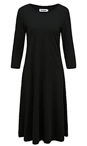 Emiqude Women's Casual A Line Flare Swing 3/4 Sleeve Midi Dress with Pocket Black Medium (Midi Cotton Dress)