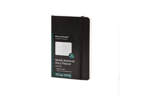 Moleskine 32299 Weekly Notebook Diary Planner 2014 - 2015 (18 Months) Agenda Carnet Semainier Week to View 3 1/4