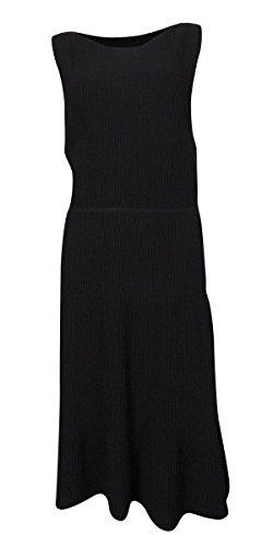 Calvin Klein Women's Textured Striped Knit Flared Dress (M, Black)
