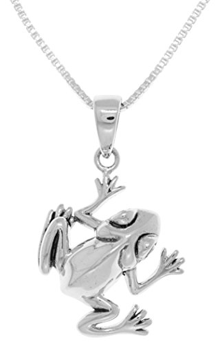 Jewelry Trends Sterling Silver Jumping Tree Frog Pendant on 18 Inch Box Chain Necklace