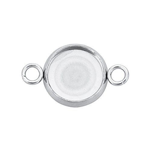 HooAMI 20pcs Round Connector Trays Blank Bezel Settings Photo DIY Crafts Jewelry Findings Silver Tone