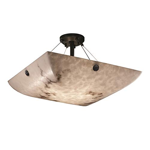 Justice Design Group LumenAria 3-Light Semi-Flush - Matte Black Finish with Faux Alabaster Resin Shade