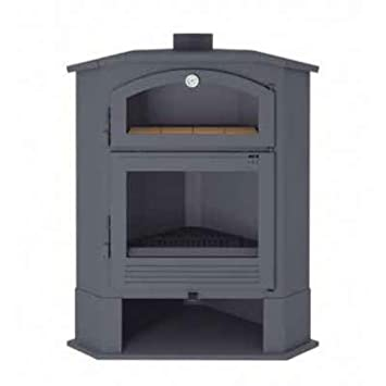 Estufa de leña de rincón con horno. Modelo CH-4 R: Amazon.es ...